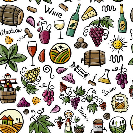 Winery, seamless pattern for your design Stock Vector - 122257949