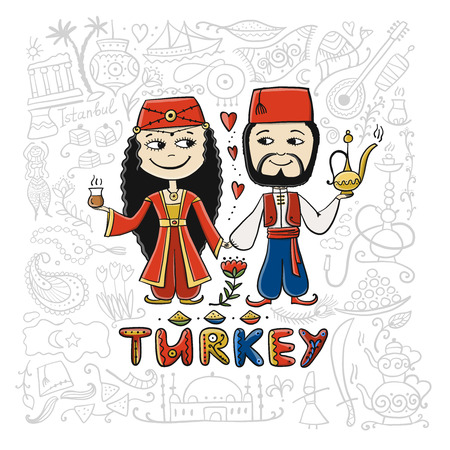 Travel to Turkey. Couple in national clothes for your design