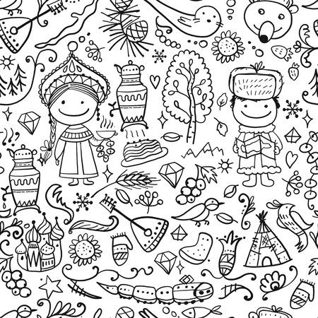 Reise nach Russland. Nahtloses Muster für Ihr Design. Vektor-Illustration