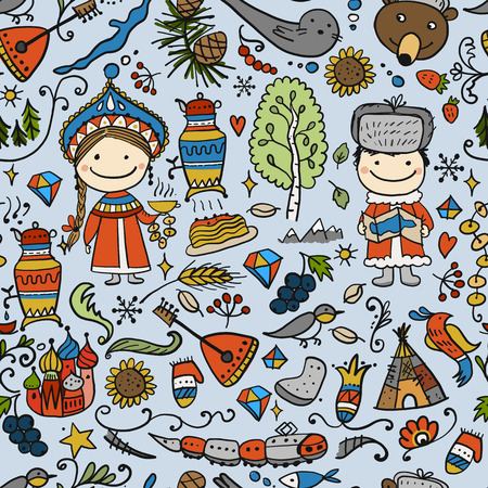 Travel to Russia. Seamless pattern for your design. Vector illustration 版權商用圖片 - 128174954