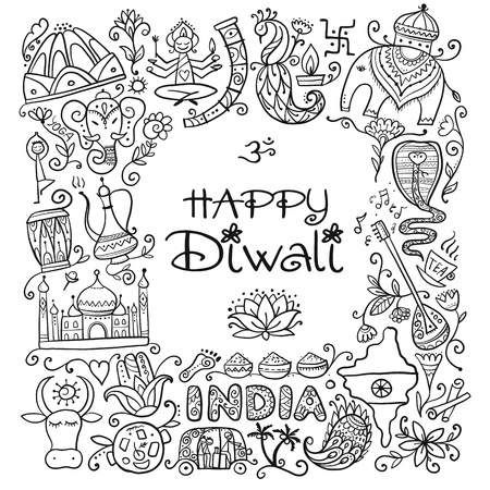 Fête du festival indien de diwali. Esquisse pour votre conception. Illustration vectorielle Vecteurs