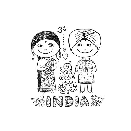 Indian people. Sketch for your design. Vector illustration