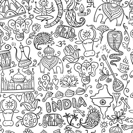 Indian lifestyle. Seamless pattern for your design. Vector illustration Illustration