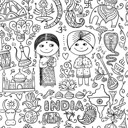 Indian lifestyle. Sketch for your design. Vector illustration
