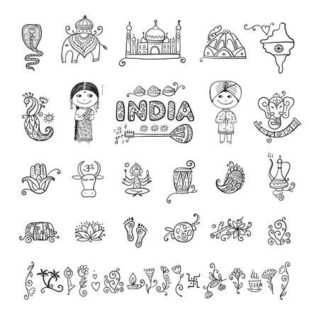 India, conjunto de iconos. Boceto para su diseño