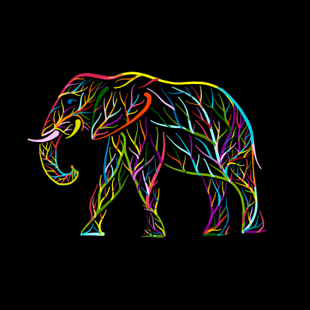 Elephant shape made from tree branches Illustration