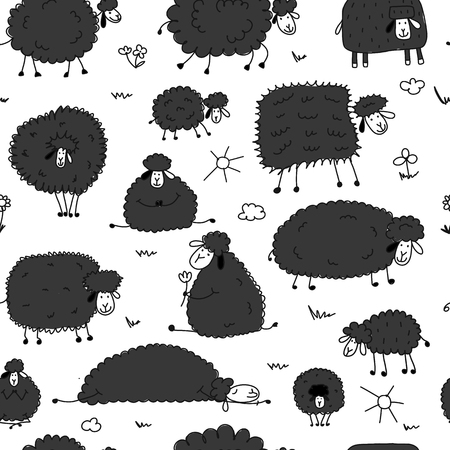 Flock of sheeps, seamless pattern for your design. Vector illustration 일러스트
