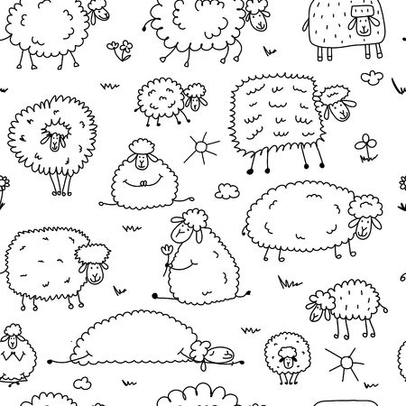 Flock of sheeps, seamless pattern for your design. Vector illustration Иллюстрация