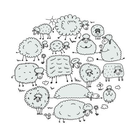 Flock of sheeps, sketch for your design