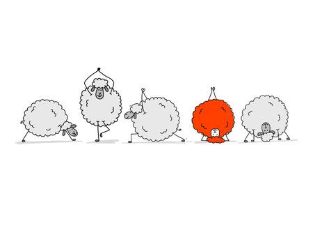 Flock of sheeps, sketch for your design