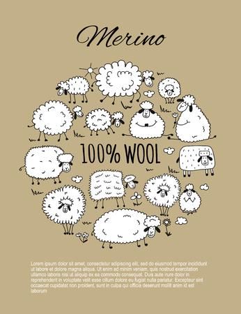 Troupeau de moutons, croquis pour votre conception