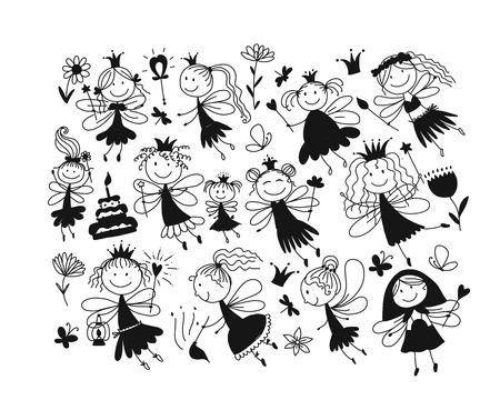 Cute little fairies collection, sketch for your design Illustration