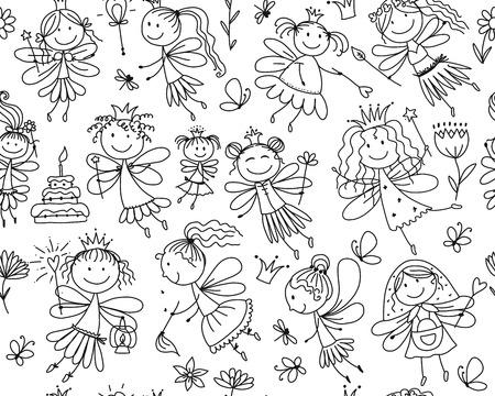 Cute little fairies collection, sketch for your design. Vector illustration Archivio Fotografico - 128174968