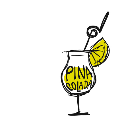 Cocktail pina colada, sketch for your design