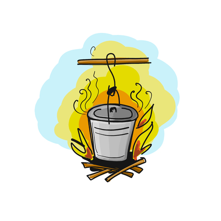 Food cooked on fire. Vector illustration