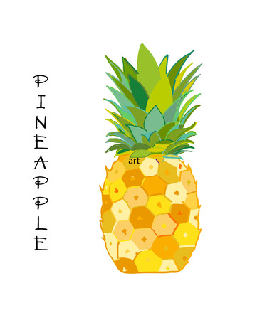 Pineapple colorful, sketch for your design. Vector illustration