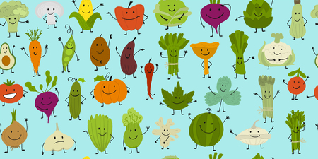 Funny smiling vegetables and greens, characters for your design. Seamless pattern. Vector illustration Illustration