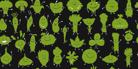 Funny smiling vegetables and greens, characters for your design. Seamless pattern. Vector illustration 일러스트
