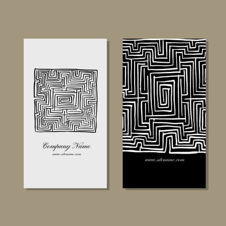 Business cards design, labyrinth square. Vector illustration