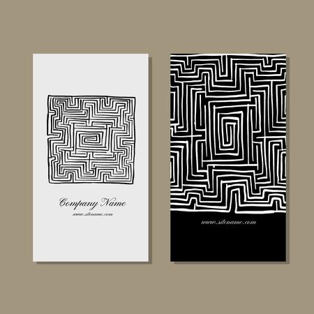 Business cards design, labyrinth square. Vector illustration