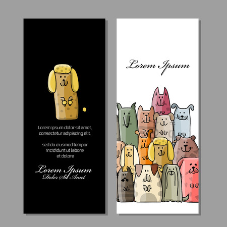 Business cards design, funny dogs family. Vector illustration