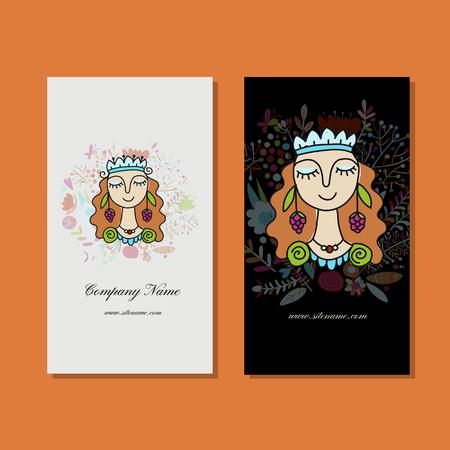 Business cards design, floral fairy