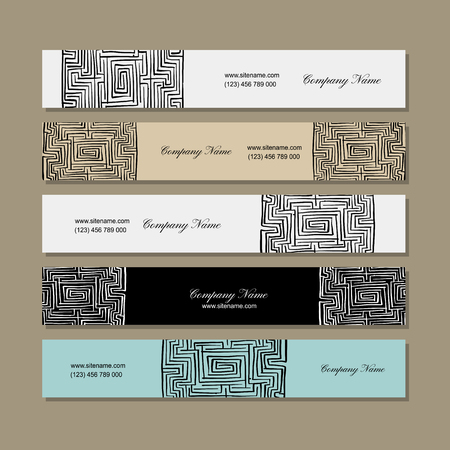 Banners design, labyrinth square. Vector illustration