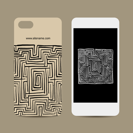Mobile phone design, labyrinth square. Vector illustration 向量圖像