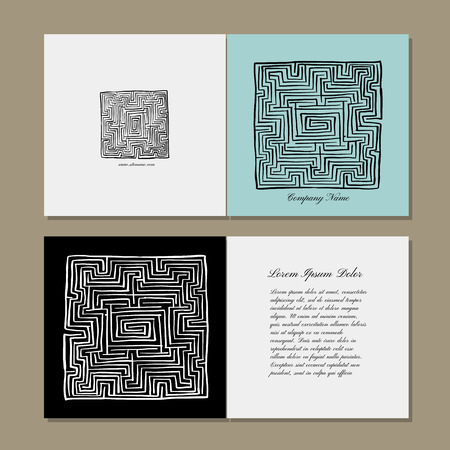 Greeting cards design, labyrinth square. Vector illustration