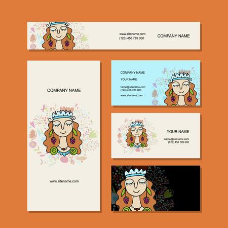 Business cards design, floral fairy Vector Illustration