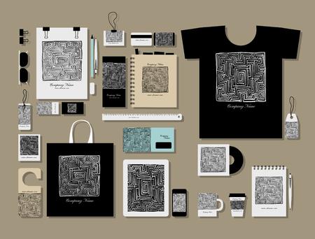 Corporate flat mock-up template, labyrinth square. Vector illustration Illustration
