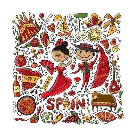 Voyage en Espagne. Carte de voeux pour votre conception. Illustration vectorielle