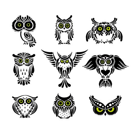 Cute owls collection, black silhouette for your design