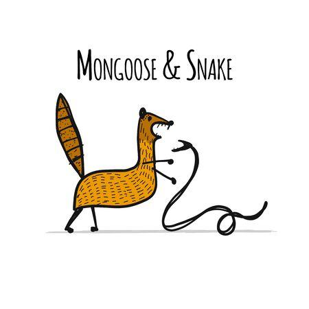 Funny mongoose, sketch for your design. Vector illustration Foto de archivo - 128175017