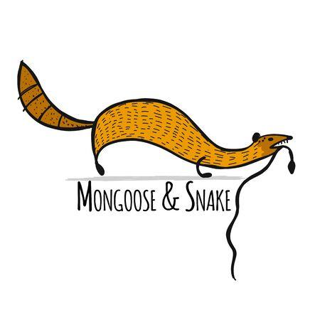 Mangosta divertida, boceto de su diseño. Ilustración vectorial Ilustración de vector