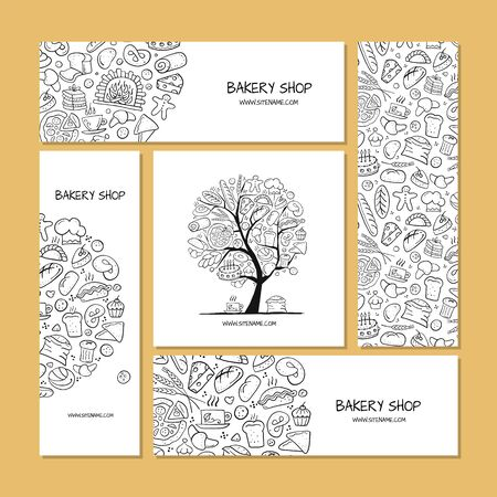 Business cards, design idea for bakery company. Vector illustration