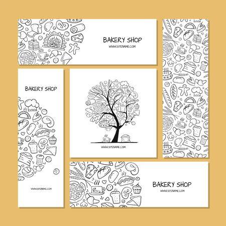 Tarjetas de visita, idea de diseño para empresa de panadería. Ilustración vectorial