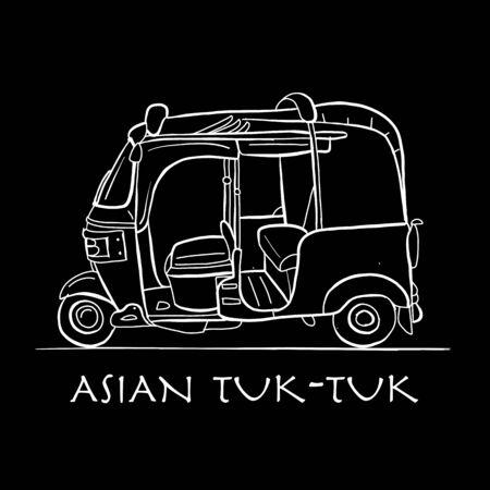 Tuktuk, motorbike asian taxi. Sketch for your design. Vector illustration Stock Illustratie