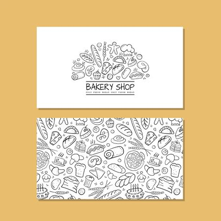 Business cards, design idea for bakery company Illustration