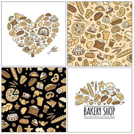 Ensemble de boulangerie, logo et motif pour votre conception Logo