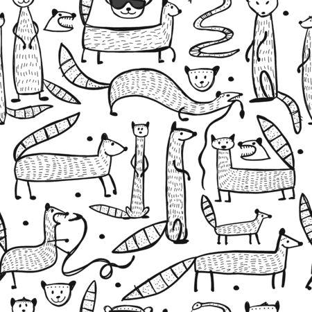 Mangostas divertidas, patrones sin fisuras para su diseño. Ilustración vectorial