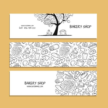Banners design, idea for bakery company. Vector illustration Ilustrace