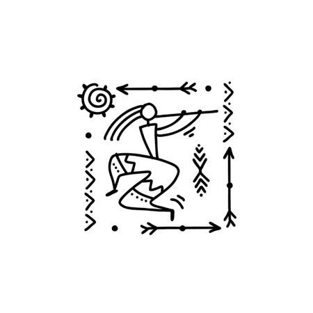 Folk ethnic dance for your design. Vector illustration