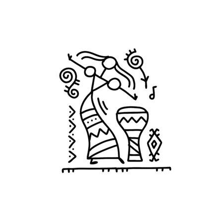 Danza etnica popolare per il tuo design. Illustrazione vettoriale