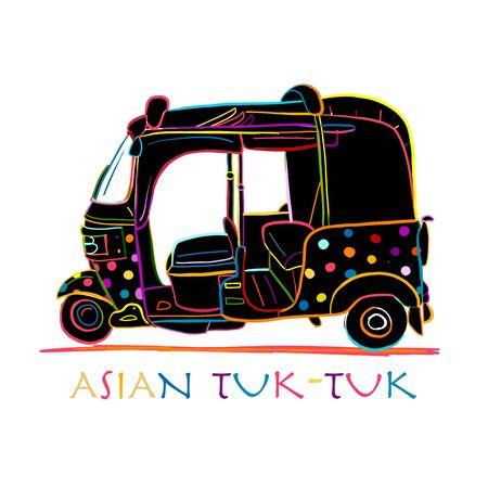 Tuktuk, motorbike asian taxi. Sketch for your design. Vector illustration Ilustração