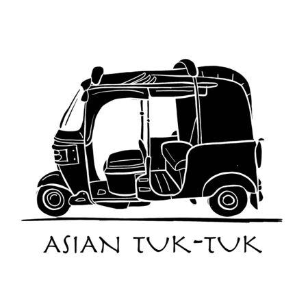 Tuktuk, motorbike asian taxi. Sketch for your design. Vector illustration Vettoriali