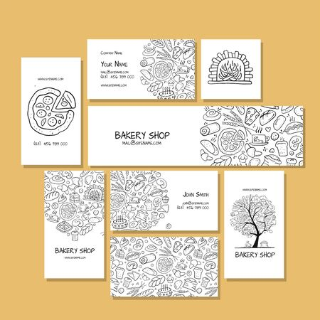 Business cards, design idea for bakery company 矢量图像