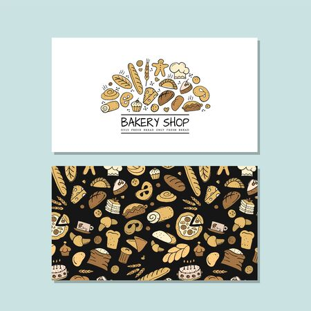 Business cards, design idea for bakery company. Vector illustration Ilustração
