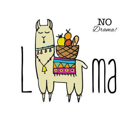 Cute lama character. Greeting card for your design Illustration