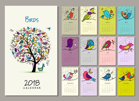 Birds tree, calendar 2018 design